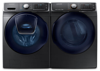 Samsung 5.2 Cu. Ft. Front-Load Steam Washer and 7.5 Cu. Ft. Electric Dryer – Black Stainless Steel - Laundry Set in Black Stainless Steel