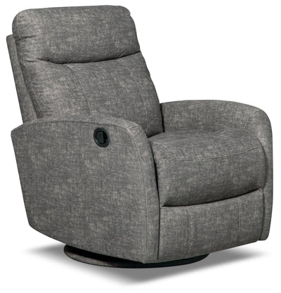 Jeff Velvet Swivel Glider Accent Recliner - Grey|Fauteuil pivotant, coulissant et inclinable Jeffrey en velours - gris|JEFFGYRC