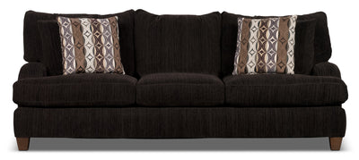 Putty Chenille Studio-Size Sofa – Chocolate - Contemporary style Sofa in Chocolate