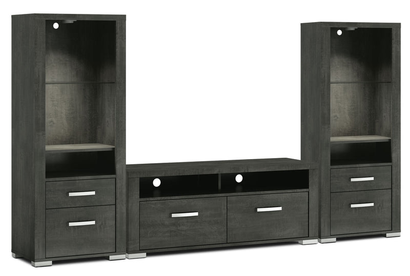 "Allendale 3-Piece Entertainment Centre with 56"" TV Opening and Open Piers - Anthracite"
