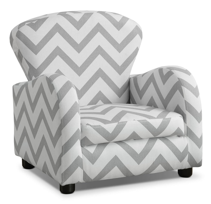 Monarch Children's Armchair – Grey Stripe - Contemporary style Accent Chair in Grey/White Plastic, Polyester and Foam