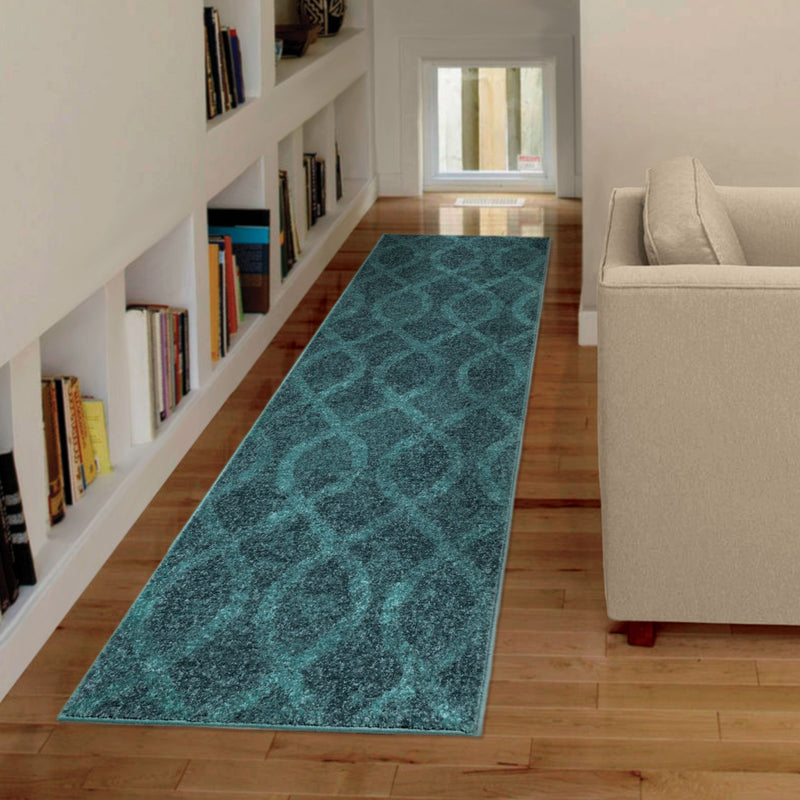 Geo Loop Blue Runner – 2' x 8'|FrenchNeeded