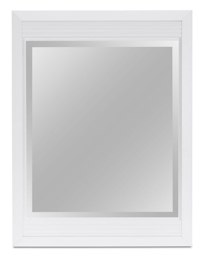 Olivia Mirror – White - Modern style Mirror in White Engineered Wood and Laminate Veneers