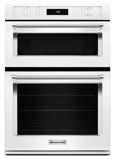 "KitchenAid 27"" Combination Wall Oven with Even-Heat™ True Convection - White - Double Wall Oven in White"