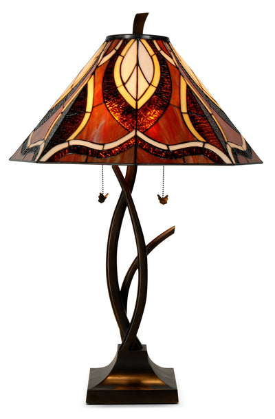 Teslatier Table Lamp with Stained Glass Shade|Lampe de table Teslatier avec abat-jour en vitrail|TBT629CC
