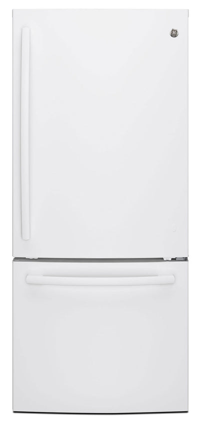 GE 20.9 Cu. Ft. Bottom-Freezer Refrigerator – GDE21DGKWW - Refrigerator in White