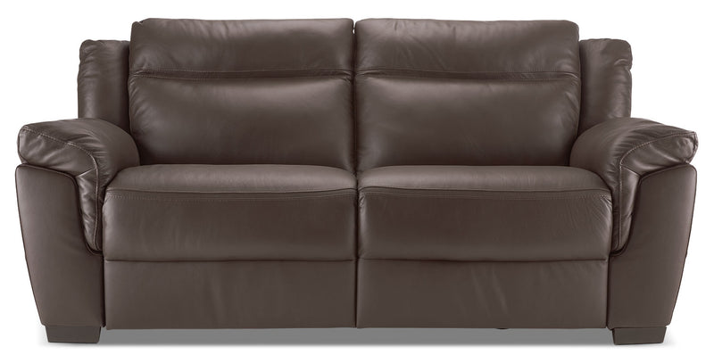 Natuzzi Editions LeMans Genuine Leather Power Reclining Sofa – Walnut|Sofa à inclinaison électrique LeMans de la collection Natuzzi Editions en cuir véritable - noyer|B86571SF