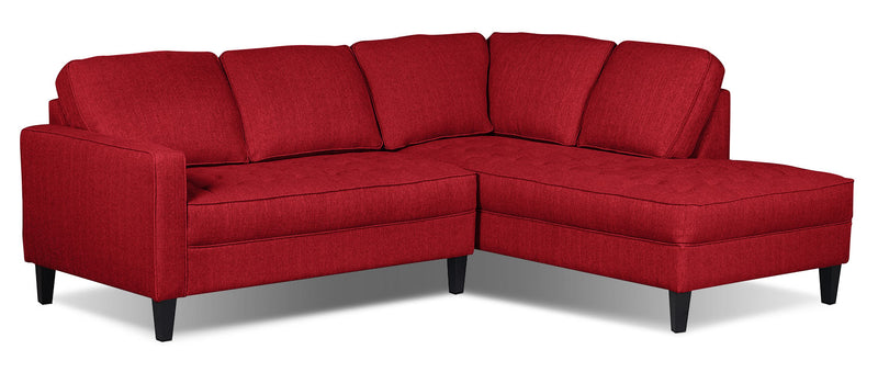 Paris 2-Piece Linen-Look Fabric Right-Facing Sectional – Cherry - Modern style Sectional in Cherry