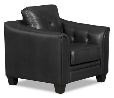 Andi Leather-Look Fabric Chair – Black - Glam style Chair in Black