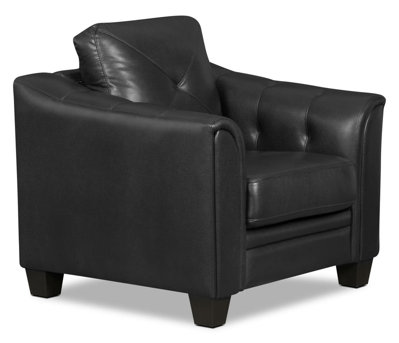 Andi Leather-Look Fabric Chair – Black|Fauteuil Andi en tissu d'apparence cuir - noir