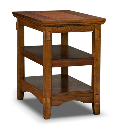 Cross Island Chairside Table - Traditional style End Table in Light Brown Wood