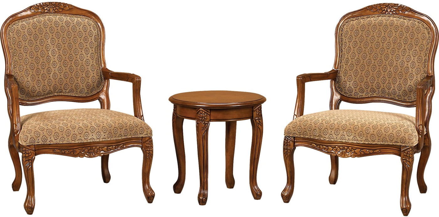 Accent Chairs.3 Piece Tasha Accent Chairs Side Table Set