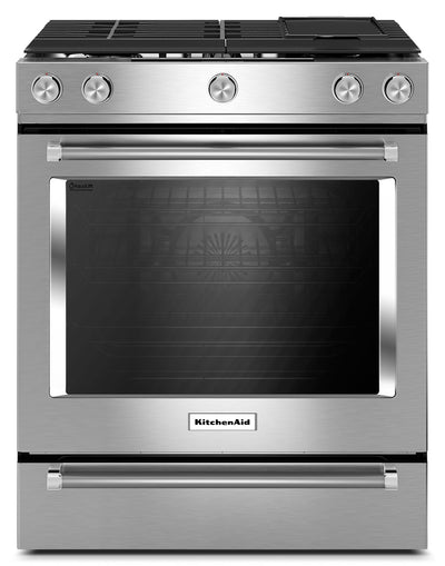 KitchenAid 7.1 Cu. Ft. Slide-In Dual Fuel Range with Baking Drawer - Stainless Steel - Dual Fuel Range in Stainless Steel