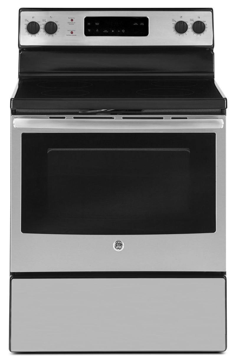 GE 5.0 Cubic Foot Freestanding Electric Self-Cleaning Range – JCB630SKSS|Cuisinière électrique amovible autonettoyante GE de 5,0 pi³ – JCB630SKSS