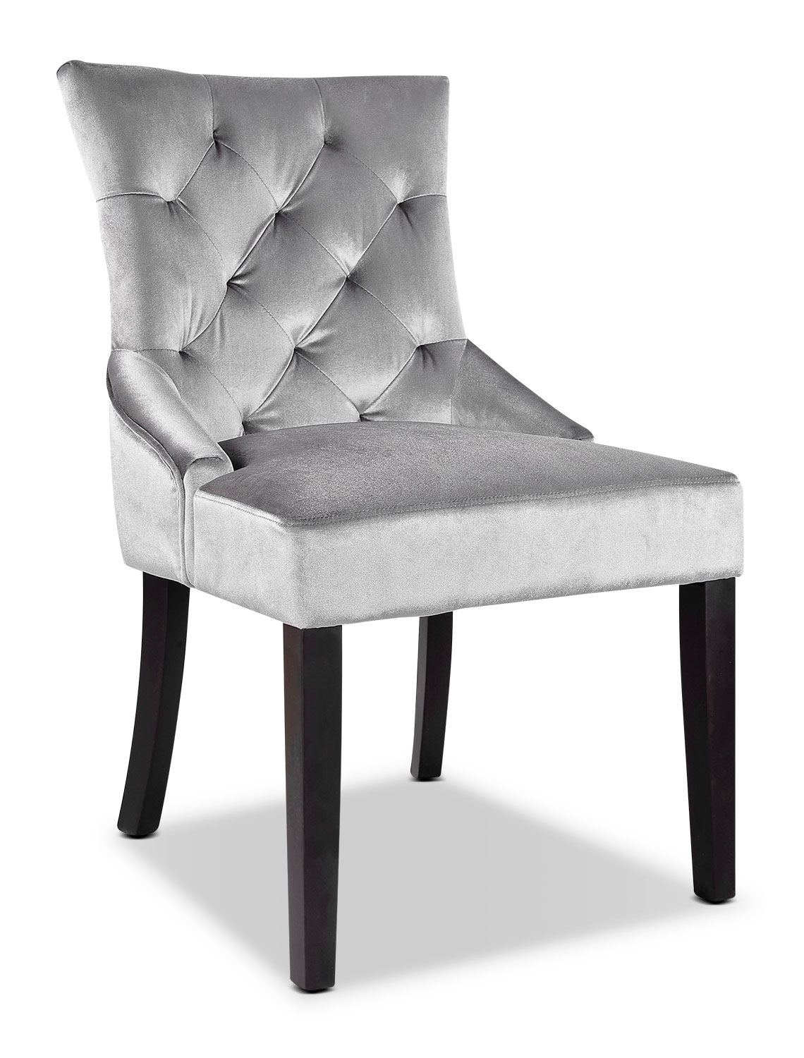 Lad velvet look fabric button tufted accent chair greyfauteuil dappoint lad capitonné en tissu dapparence velours gris