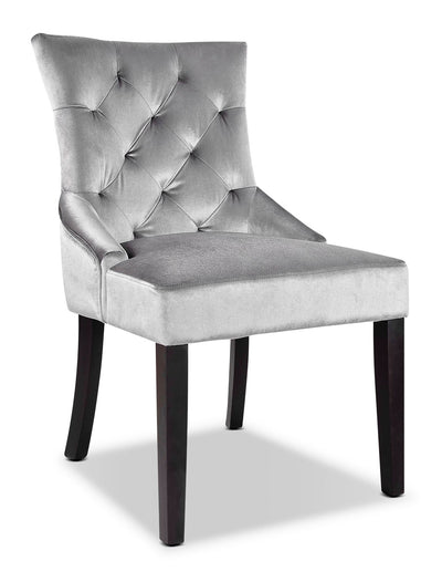 LAD Velvet-Look Fabric Button-Tufted Accent Chair – Grey|Fauteuil d'appoint LAD capitonné en tissu d'apparence velours – gris|LAD480AC