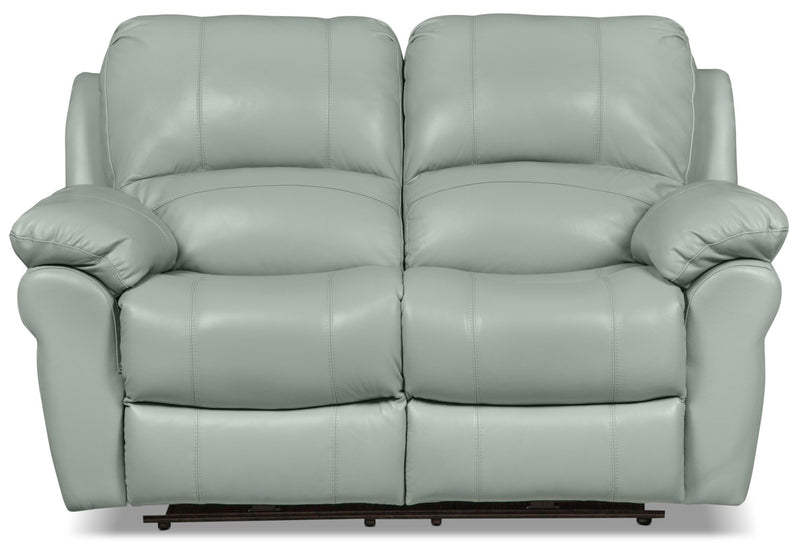 Kobe Genuine Leather Reclining Loveseat - Blue - Contemporary style Loveseat in Blue
