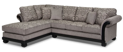 Hazel 2-Piece Chenille Left-Facing Sectional - Grey|Sofa sectionnel de gauche Hazel 2 pièces en chenille - gris|HAZELGS2
