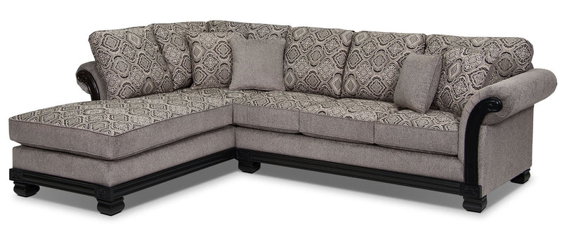 Hazel 2-Piece Chenille Left-Facing Sectional - Grey - Traditional style Sectional in Grey