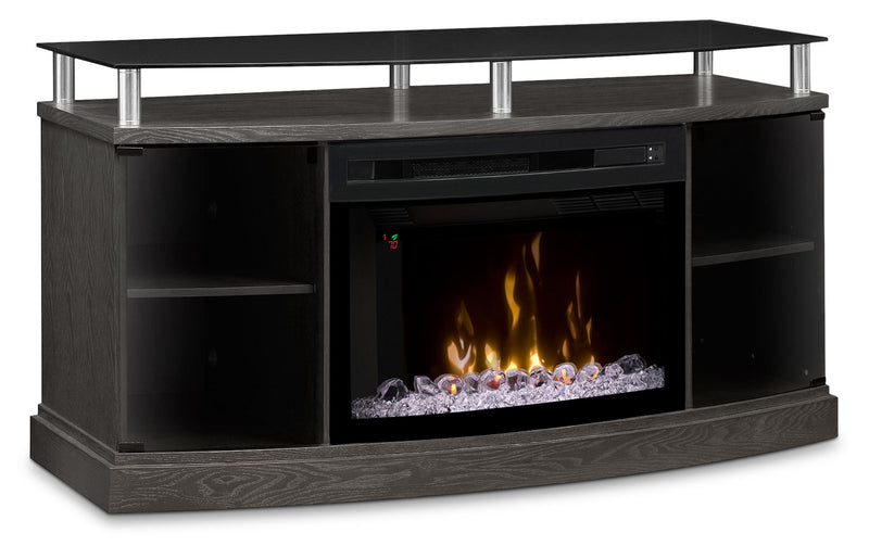 "Windham 53"" TV Stand with Multi-Fire XD™ Glass Ember Firebox – Silver