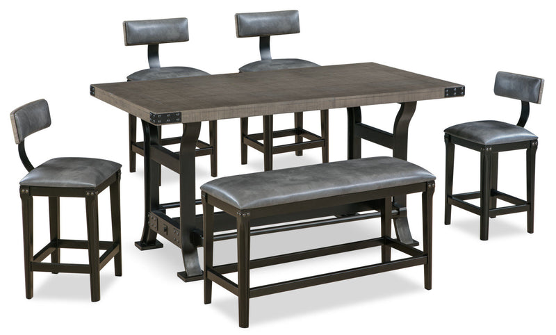 Ironworks 6-Piece Counter-Height Dining Package - Industrial style Dining Room Set in Grey Rubberwood Solids and Metal