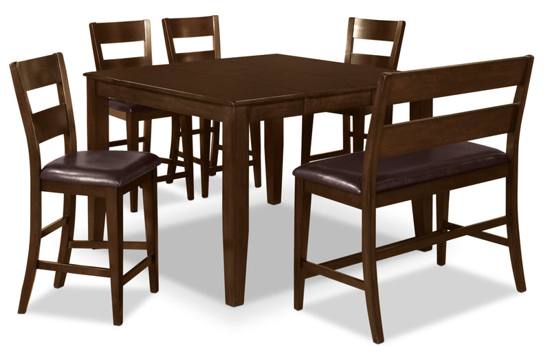 Dakota 6 Piece Counter-Height Dining Package - Contemporary style Dining Room Set in Dark Cherry