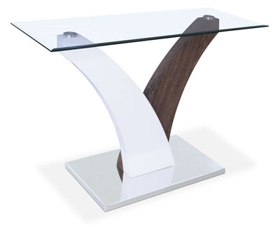 Tuxedo Sofa Table - Modern style Sofa Table in Grey/White Glass/Metal/Wood