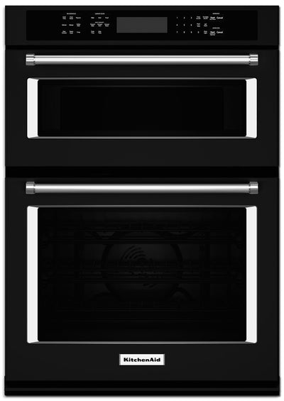 "KitchenAid 30"" Double Wall Oven with Microwave and Conventional Oven - KOCE500EBL - Double Wall Oven in Black"