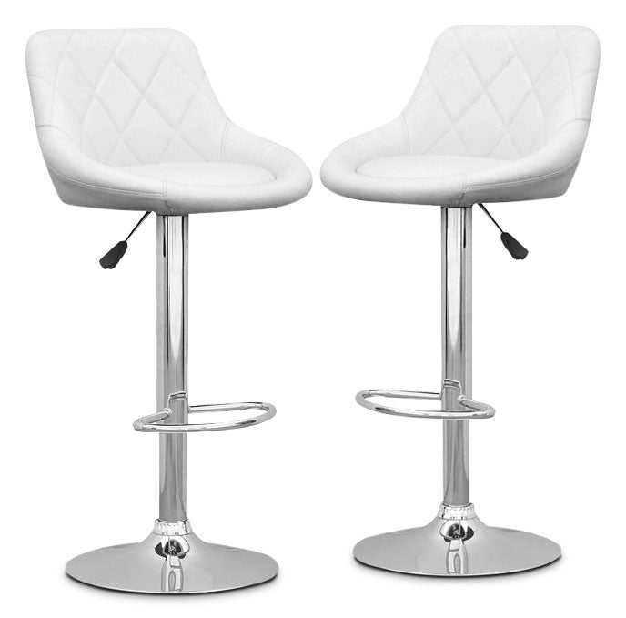 Adjustable Diamond-Back Bar Stool, Set of 2 – White|Tabouret bar réglable avec dossier en forme de diamant, ensemble de 2 - blanc