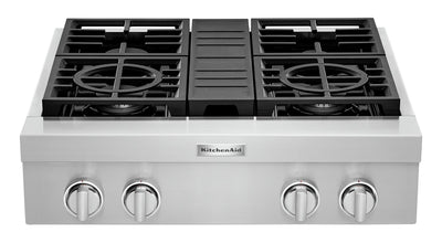 KitchenAid 30'' 4-Burner Commercial-Style Gas Range Top - KCGC500JSS - Range Top in Stainless Steel