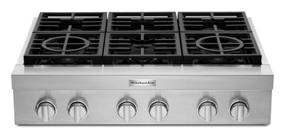 KitchenAid 36'' 6-Burner Commercial-Style Gas Range Top - KCGC506JSS - Range Top in Stainless Steel