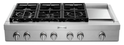 KitchenAid 48'' 6-Burner Commercial-Style Gas Range Top with Griddle - KCGC558JSS - Range Top in Stainless Steel