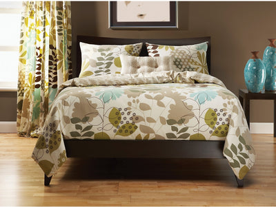 English Garden 4 Piece Queen Duvet Cover Set - Cream Duvet Set