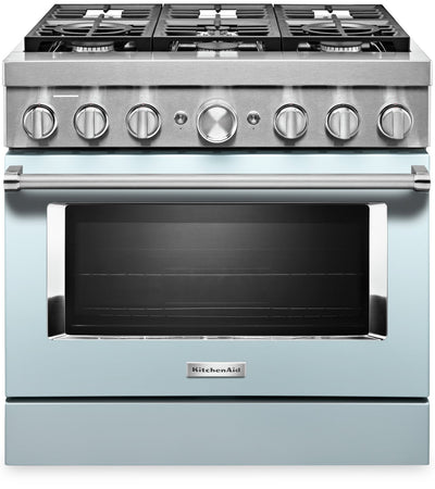 KitchenAid 36'' Smart Commercial-Style Dual Fuel Range - KFDC506JMB - Dual Fuel Range in Misty Blue