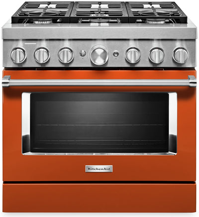 KitchenAid 36'' Smart Commercial-Style Dual Fuel Range - KFDC506JSC - Dual Fuel Range in Scorched Orange