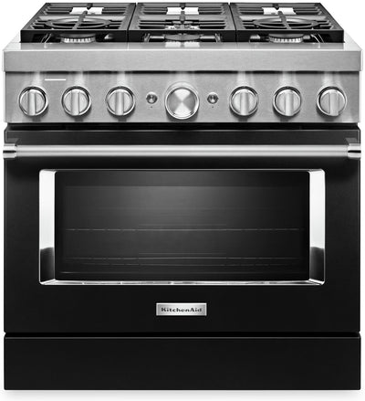 KitchenAid 36'' Smart Commercial-Style Dual Fuel Range - KFDC506JBK - Dual Fuel Range in Imperial Black