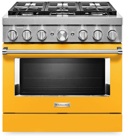 KitchenAid 36'' Smart Commercial-Style Dual Fuel Range - KFDC506JYP - Dual Fuel Range in Yellow Pepper