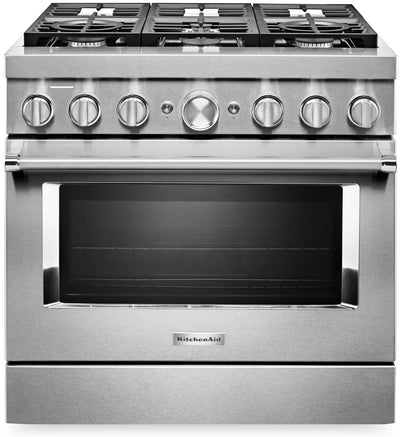 KitchenAid 36'' Smart Commercial-Style Gas Range - KFGC506JSS|Cuisinière à gaz intelligente KitchenAid de 36 po de style commercial - KFGC506JSS|KFGC506S