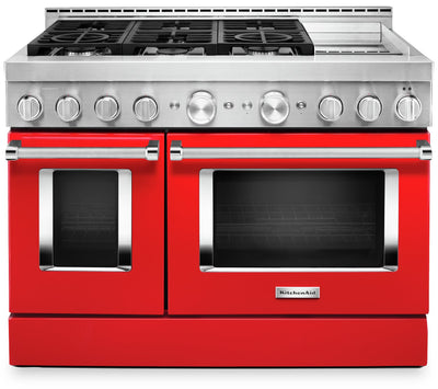 KitchenAid 48'' Smart Commercial-Style Gas Range with Griddle - KFGC558JPA - Gas Range in Passion Red
