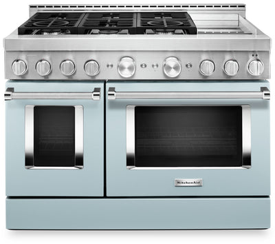 KitchenAid 48'' Smart Commercial-Style Dual Fuel Range with Griddle - KFDC558JMB - Dual Fuel Range in Misty Blue