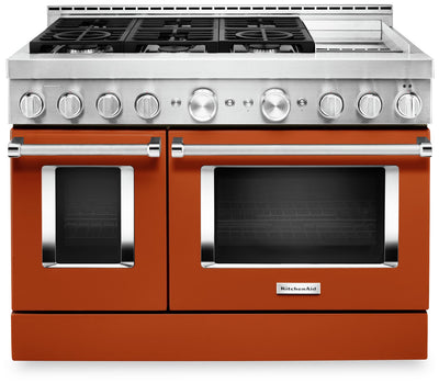 "KitchenAid 48"" Smart Commercial-Style Gas Range with Griddle - KFGC558JSC