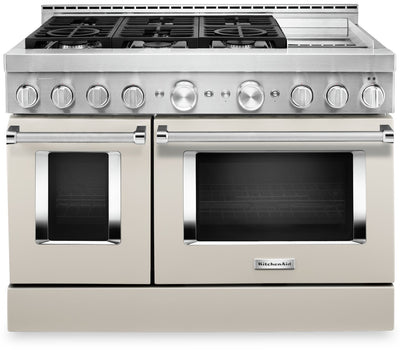 "KitchenAid 48"" Smart Commercial-Style Gas Range with Griddle - KFGC558JMH