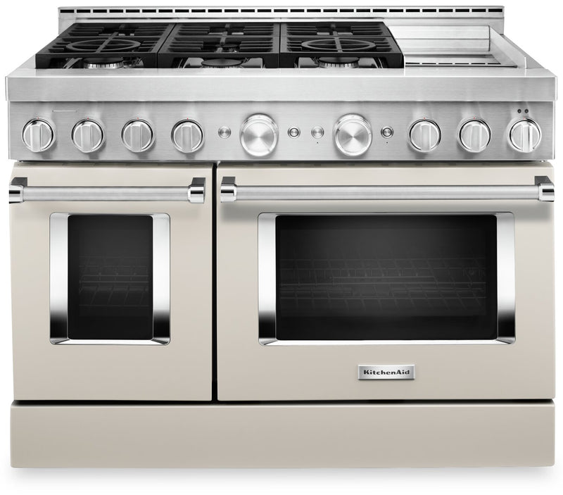 KitchenAid 48'' Smart Commercial-Style Gas Range with Griddle - KFGC558JMH|Cuisinière à gaz intelligente KitchenAid 48 po de style commercial, plaque chauffante - KFGC558JMH|KFGC558H