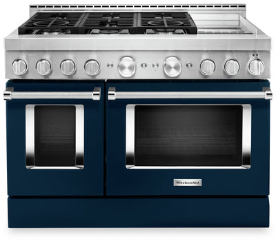 KitchenAid 48'' Smart Commercial-Style Dual Fuel Range with Griddle - KFDC558JIB - Dual Fuel Range in Ink Blue