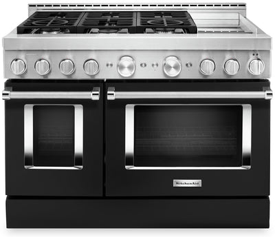 "KitchenAid 48"" Smart Commercial-Style Gas Range with Griddle - KFGC558JBK