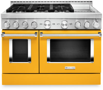 KitchenAid 48'' Smart Commercial-Style Gas Range with Griddle - KFGC558JYP|Cuisinière à gaz intelligente KitchenAid 48 po de style commercial, plaque chauffante - KFGC558JYP|KFGC558P