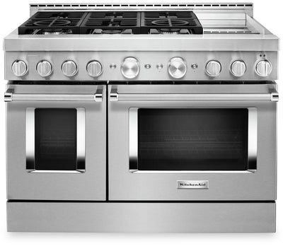 "KitchenAid 48"" Smart Commercial-Style Gas Range with Griddle - KFGC558JSS