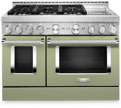 KitchenAid 48'' Smart Commercial-Style Gas Range with Griddle - KFGC558JAV - Gas Range in Matte Avocado