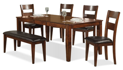 Dakota Light 6-Piece Dining Package - Contemporary style Dining Room Set in Light Cherry