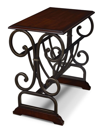 Gander Accent Table with Magazine Rack - Brown Cherry - Traditional style End Table in Cherry Metal and Hardwood Solids